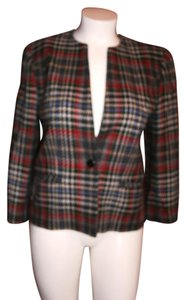 Salvatore Ferragamo SALVATORE FERRAGAMO WOMEN PLAIDS TWEED BLAZER WOOL BLEND MULTI COLOR I46, US 12