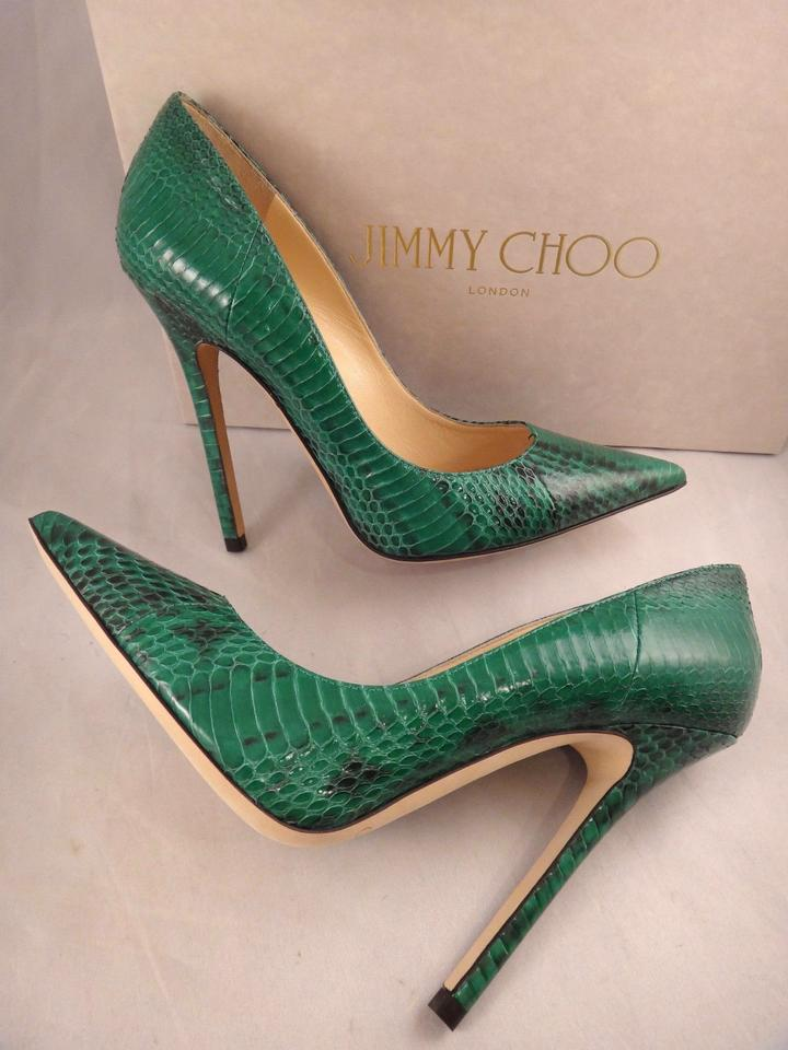 c932052a934b Jimmy Choo Green Anouk Snakeskin Glossy Leather Pointed Heel 35.5 Pumps  Size US 5.5 Regular (M