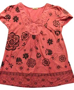 One World Festival 18 Plus-size Boho Embroidered T Shirt persimmon