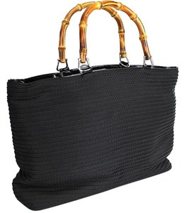 Gucci Textile Tote in Black Bamboo