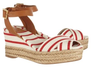 Tory Burch Red and White with Tan Wedges
