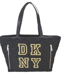 DKNY Trim Nylon Quilted Diamond Tote in black/gold