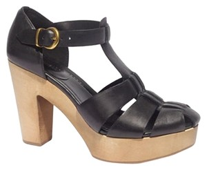 Madewell black and wood Platforms