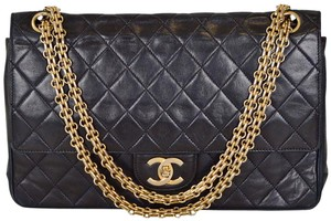 Chanel Quilted Lambskin Double Flap Navy Shoulder Bag