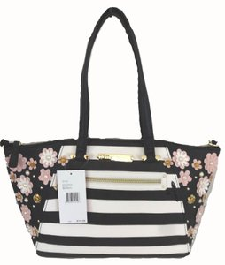 Betsey Johnson Stripe Satchel in black, bone
