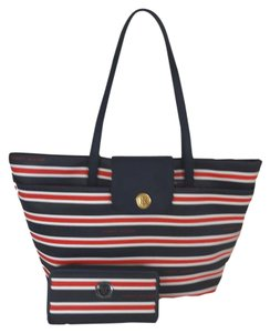 Tommy Hilfiger Striped Front Pocket Matching Wallet Tote in blue red white