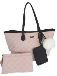 Betsey Johnson Quilted Diamonds Blush Bone Cosmetic Case Tote in bone/blush