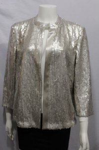 Akris Women Silver Cocktail Cardigan Sequins Blazer Champagne Jacket