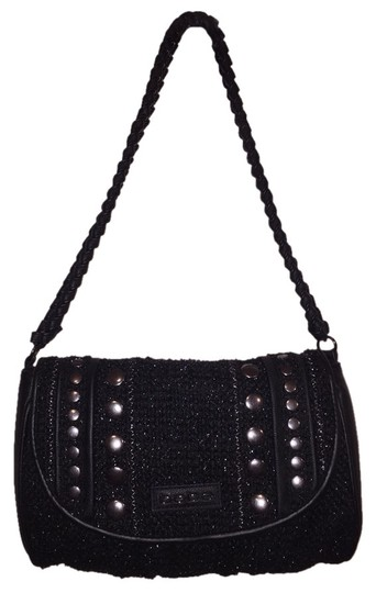 bebe Studded Faux Leather Tweed Studs Sparkle Chain Clutch Shoulder Bag
