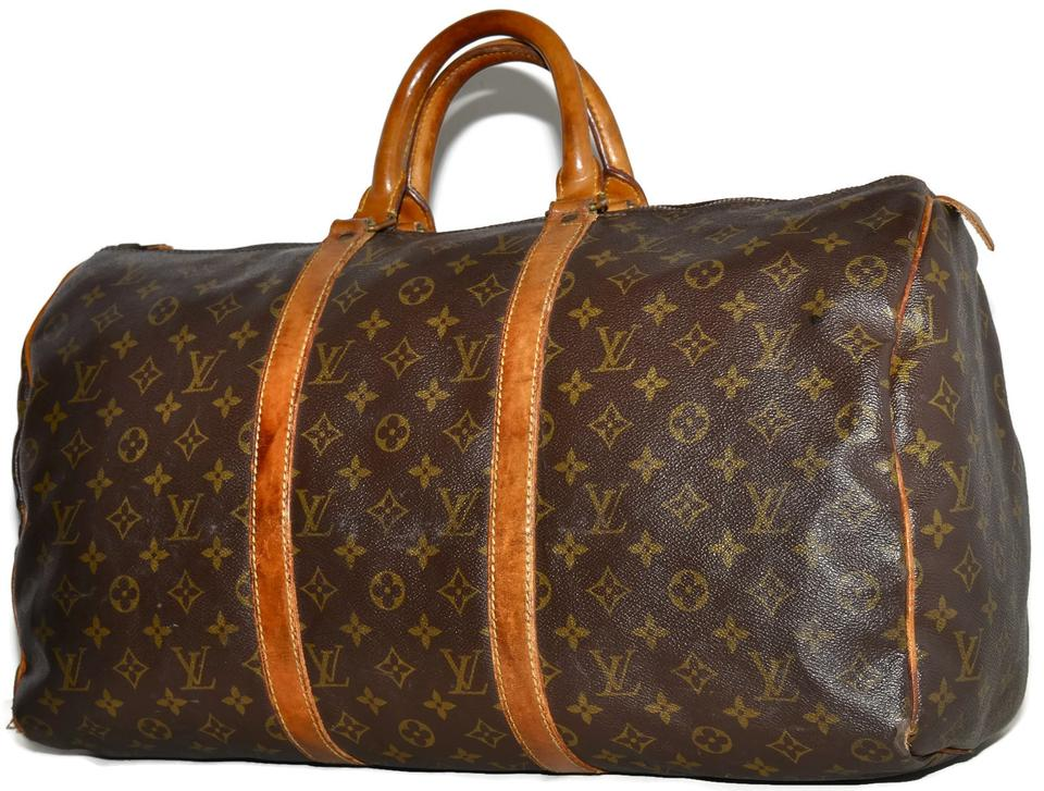 Louis Vuitton Duffle Keepall Vintage 70s 50 Monogram Carry On Luggage Suitcase  Brown Leather   Coated Canvas Weekend Travel Bag 71fcbc1b497af