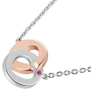MBLife NEW without tag Two Tone Love Lock 925 Sterling Silver Pink Sapphire Necklace