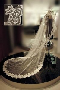 Beautiful Long Wedding Veil In White