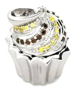MBLife new w/o tag 925 silver cupcake pendant with yellow zircon stones