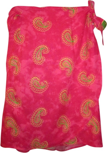 Vivid color sarong from Thailand Paisley Skirt Pink/Gold/Green