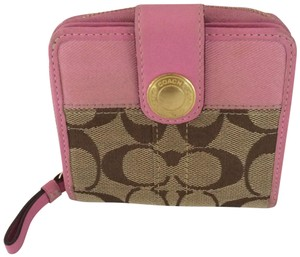 Coach SIGNATURE C ZIP AROUND SNAP MEDIUM WALLET PINK