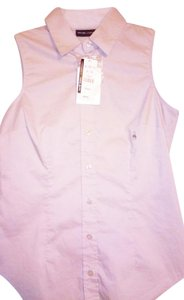 New York & Company Sleeveless Buttoned Stretchy Button Down Shirt Beige