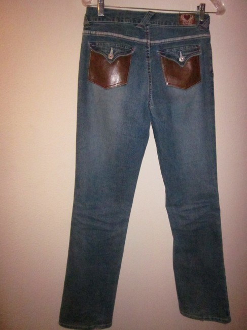 XOXO Faux Leather Boot Cut Jeans-Medium Wash