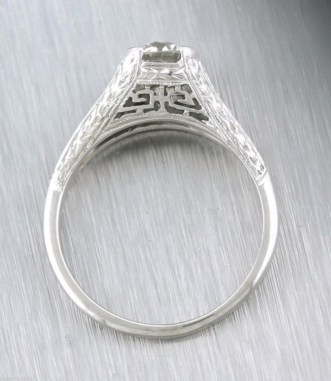 Other Antique Art Deco Handcrafted 0.65ct Diamond 20K White Gold Engagement Ring Image 2