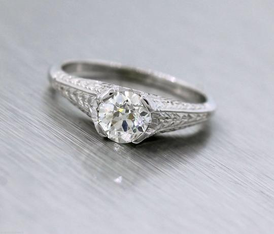 Other Antique Art Deco Handcrafted 0.65ct Diamond 20K White Gold Engagement Ring Image 3