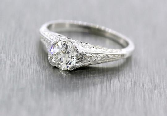 Other Antique Art Deco Handcrafted 0.65ct Diamond 20K White Gold Engagement Ring Image 6