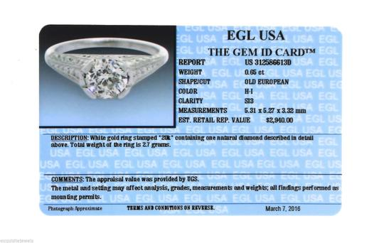 Other Antique Art Deco Handcrafted 0.65ct Diamond 20K White Gold Engagement Ring Image 7