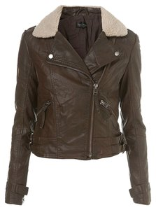 Topshop Leather Bomber Aviator Dark Brown Jacket