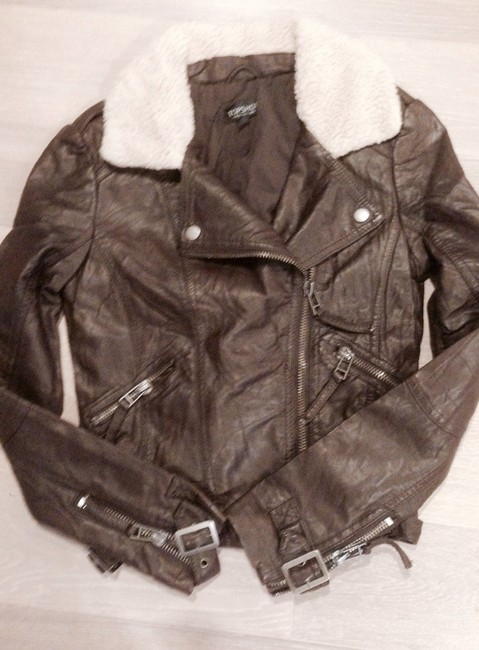 Topshop Leather Bomber Aviator Shearling Dark Brown Jacket