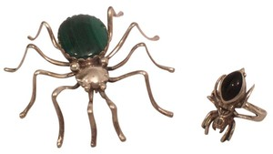 Ella Spencer Native American 925 Silver Spider Green Malachite Pin & Onyx Ring