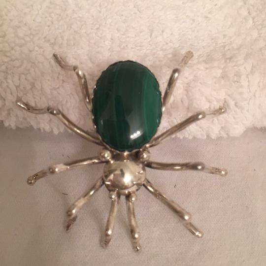 Ella Spencer Native American 925 Silver Spider Green Malachite Pin & Onyx Ring Image 1