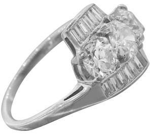 Vintage Platinum 2.52ct Round and Baguette Cut Diamond Engagement Ring