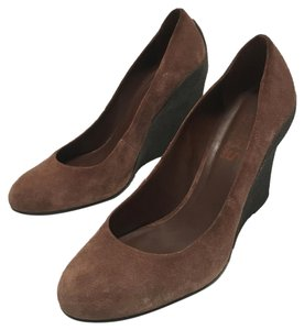 Michael Kors Wedge Casual Office Brown Suede / Black Heel Wedges