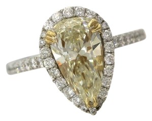 Stunning Ladies 2.92ctw Yellow Pear Diamond 18K White Gold Halo Engagement Ring