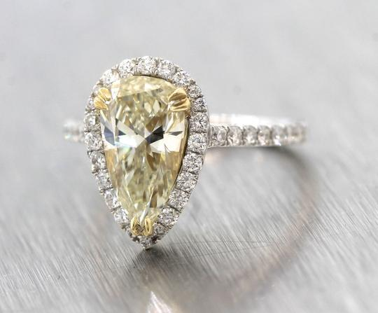 Other Stunning Ladies 2.92ctw Yellow Pear Diamond 18K White Gold Halo Engagement Ring Image 3