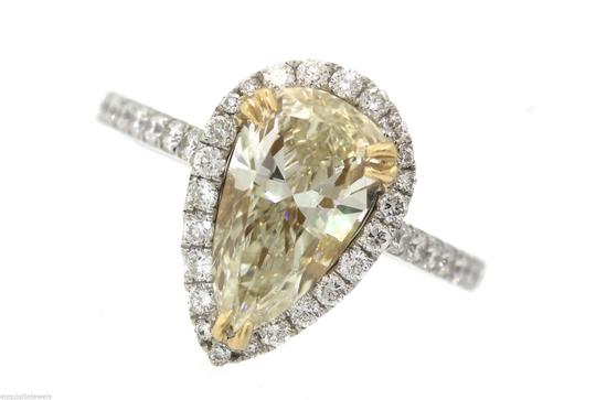 Other Stunning Ladies 2.92ctw Yellow Pear Diamond 18K White Gold Halo Engagement Ring Image 4