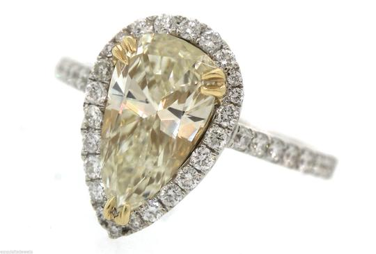Other Stunning Ladies 2.92ctw Yellow Pear Diamond 18K White Gold Halo Engagement Ring Image 6