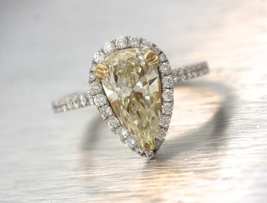 Other Stunning Ladies 2.92ctw Yellow Pear Diamond 18K White Gold Halo Engagement Ring Image 7