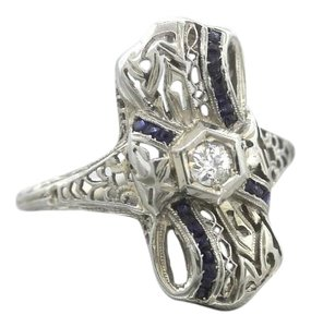 Other Exquisite Ladies Antique Art Deco Diamond Synthetic Sapphire 18K White Gold Ring