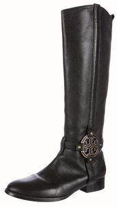 Tory Burch Amanda Hardware Reva Logo Riding Black, Gold Boots