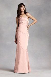Vera Wang Blush One Shoulder Satin Dress With Asymmetrical Skirt Dress