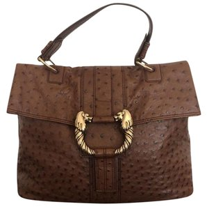 BVLGARI Bulgari Leather Tote Ostrich Shoulder Bag