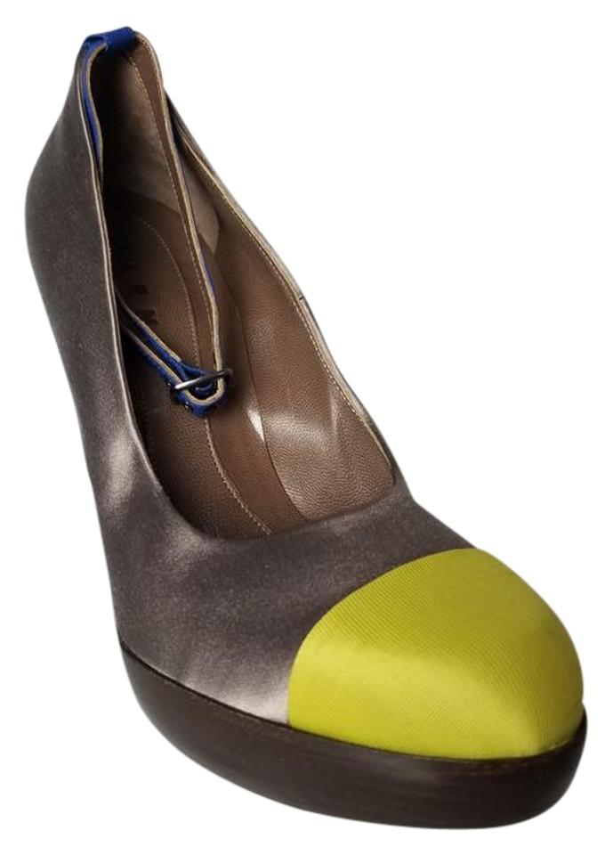 Marni Satin Gray Chartreuse Cobalt Blue Satin Marni Mary Jane Wedges 59a776
