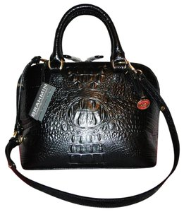 Brahmin Vivian Leather Emb Satchel in Black