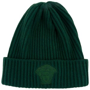 Versace Versace Green Knitted Beanie Wool/Cashmere Blend Hat