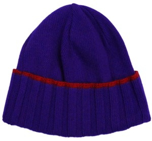 Versace Versace Blue Knitted Beanie Cashmere Blend Hat