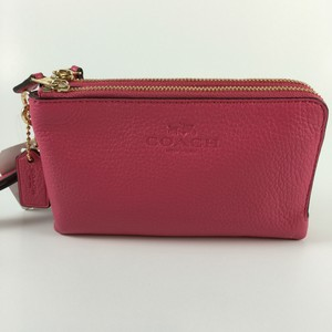 Coach Hot Pink Double Nwt Leather Wristlet in DAHLIA