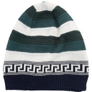 Versace Versace Green/White Knitted Wool Blend Beanie Hat