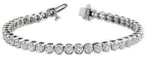 Avi and Co 1.00 cttw Round Brilliant Cut Diamond Semi-Bezel Tennis Bracelet 14K White Gold