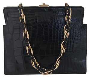 Saks Fifth Avenue Alligator Kelly Vintage Alligator Crocodile French Alligator Nancy Gonzalez Satchel in Black