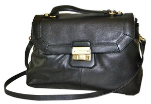 Foley + Corinna & Nicolette Crossbody Leather Satchel in Black