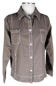 Fresh Produce Button Front Cotton Sheeting Long Sleeves Top brown